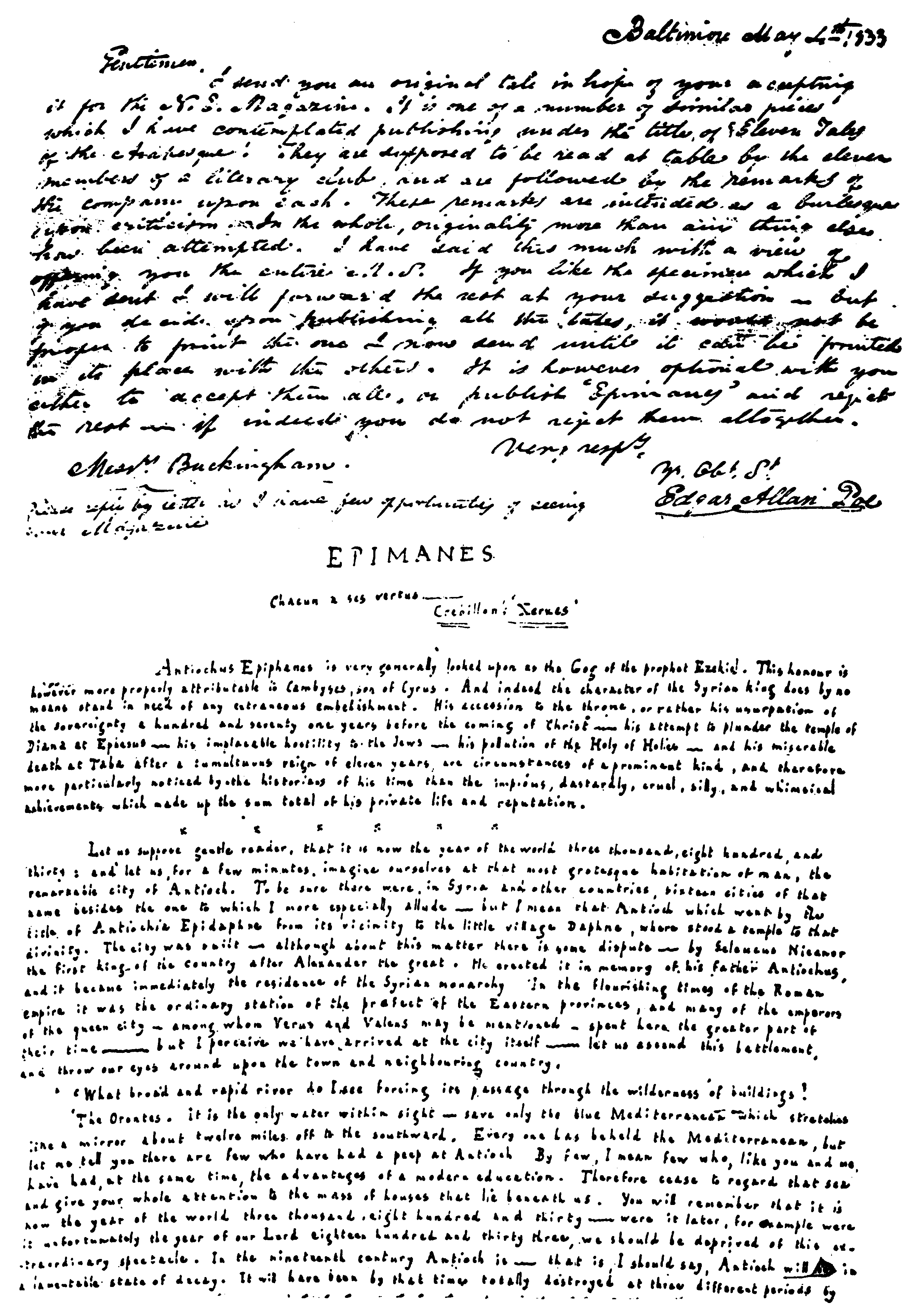 Autograph Letter From Poe To The Editors Of New England Magazine Offering His Tales Arabesque Reproduced Facsimile Original